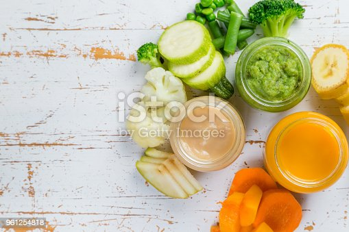 istock Colorful baby food purees in glass jars 961254818