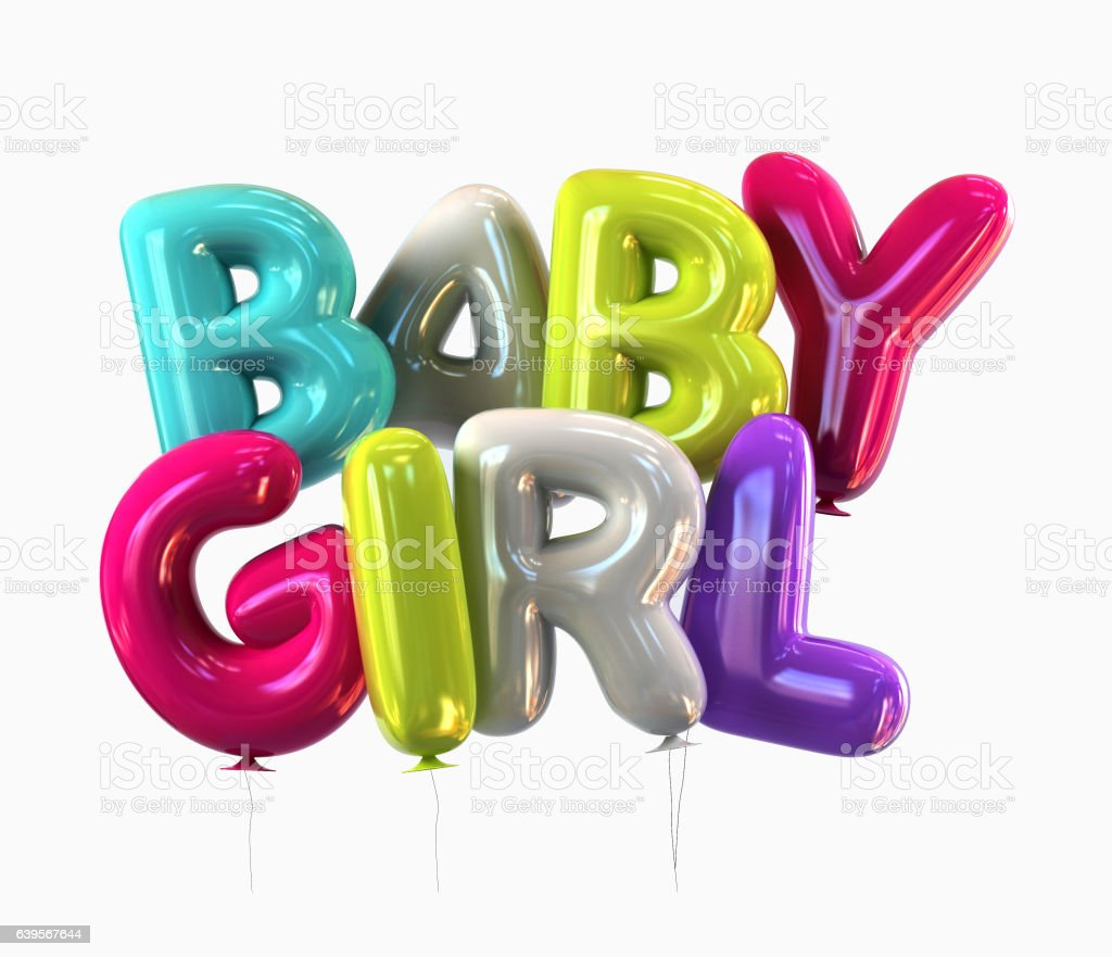 Colorful Baby Girl Balloons with glossy reflections isolated. 3d rendering stock photo