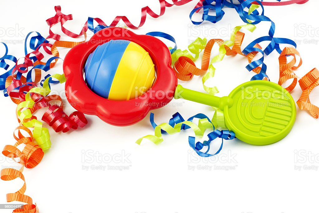 Colorful Baby Rattle with ribbons royalty-free stock photo