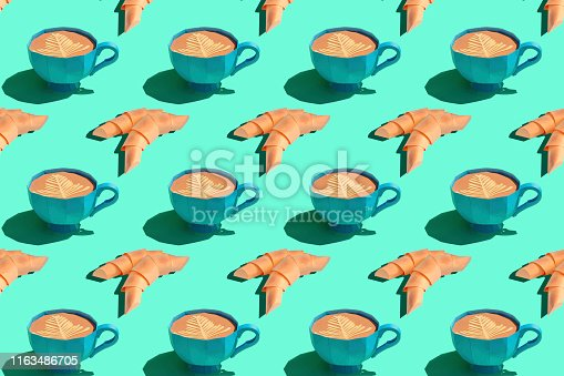 1156991909 istock photo Colorful background from paper cups with cappuccino and croissants 1163486705