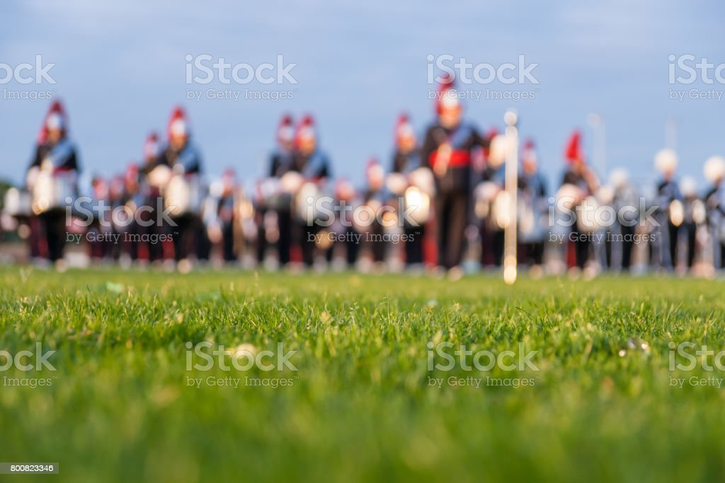 Colorful background of a music orchestra in the evening sun stock photo