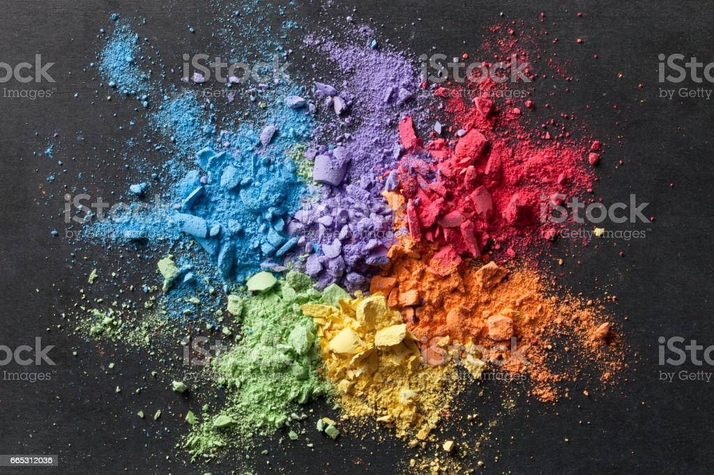 Colorful background of chalk powder stock photo