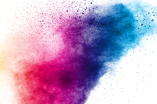 istock Colorful background of pastel powder explosion.Color dust splash on white background. 1153056044