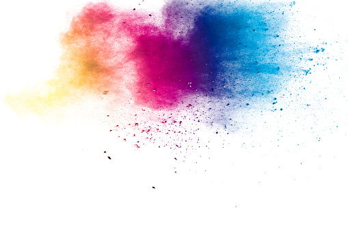 istock Colorful background of pastel powder explosion.Multi colored dust splash on white background.Painted Holi. 1177470518
