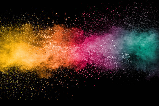 Colorful background of pastel powder explosion.Rainbow color dust splash on black background. Colorful background of pastel powder explosion.Rainbow color dust splash on black background. color image stock pictures, royalty-free photos & images