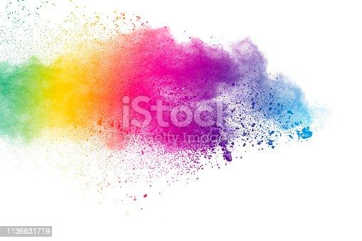 874001870 istock photo Colorful background of pastel powder.Color dust splash on white background. 1136631719