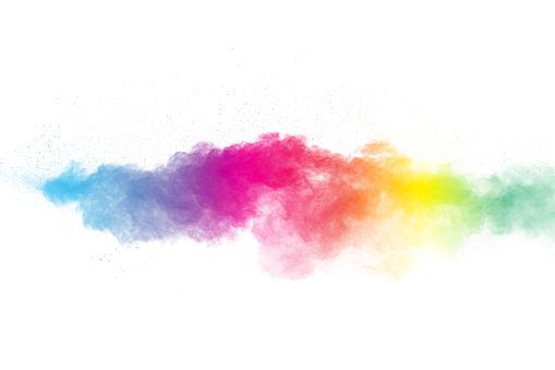 istock Colorful background of pastel powder.Color dust splash on white background. 1164167117