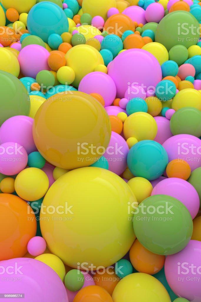 Fundo colorido de esferas com um sentimento alegre e divertido. - foto de acervo