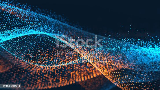 Abstract particle landscape on a dark background