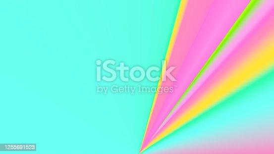 istock Colorful background. Surreal texture. Multicolor wallpaper. Simple backdrop. Glow. Neon. Digital art. Intense. Cosmic. Futuristic. 3d illustration. Cover. Poster. Creative. 1255691523
