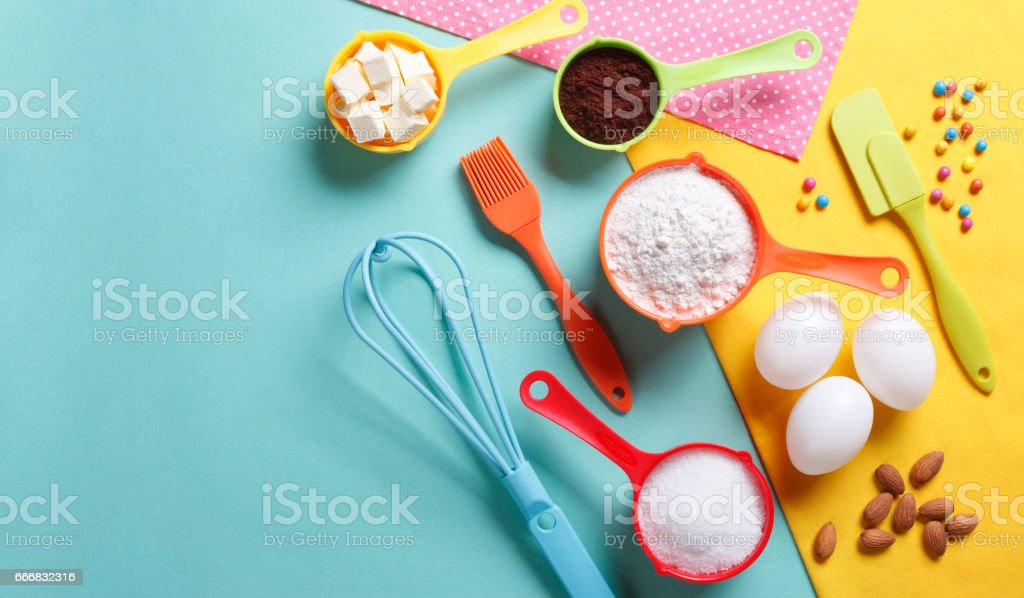 Colorful Baking Ingredients stock photo