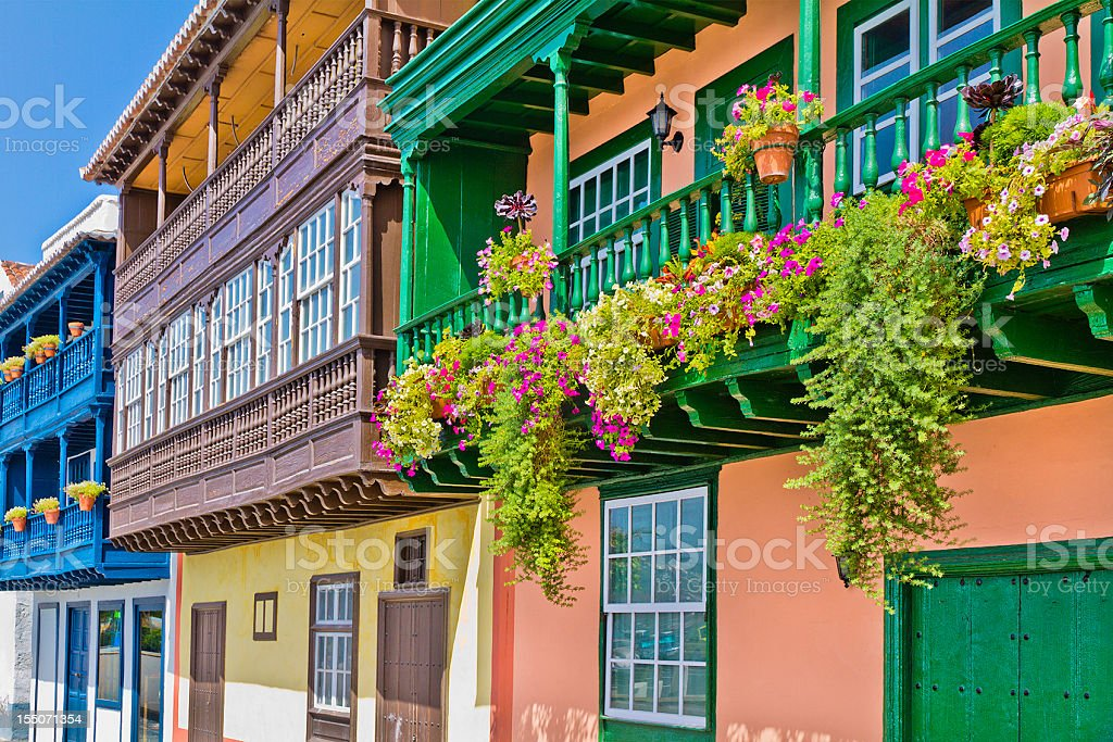 Colorful balconies in Santa Cruz de la Palma stock photo