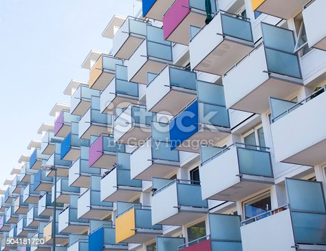 istock Colorful balconies on apartment building 504181720
