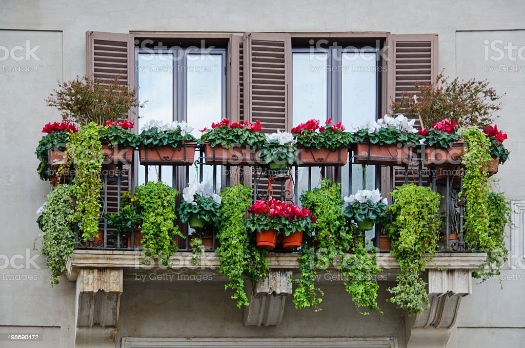 Colorful Balcony Overlooking Piazza Navona in Rome, Italy stock photo