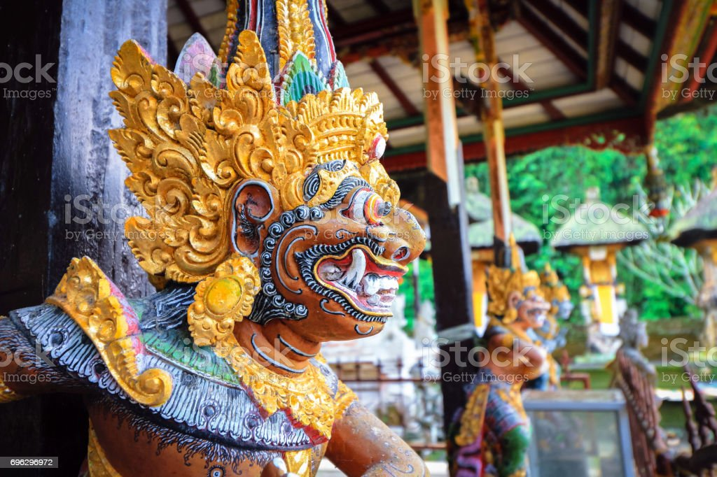 Colorful Balinese statue stock photo