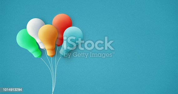 istock Colorful balloon light bulb on pastel background.business creativity idea 1014913294
