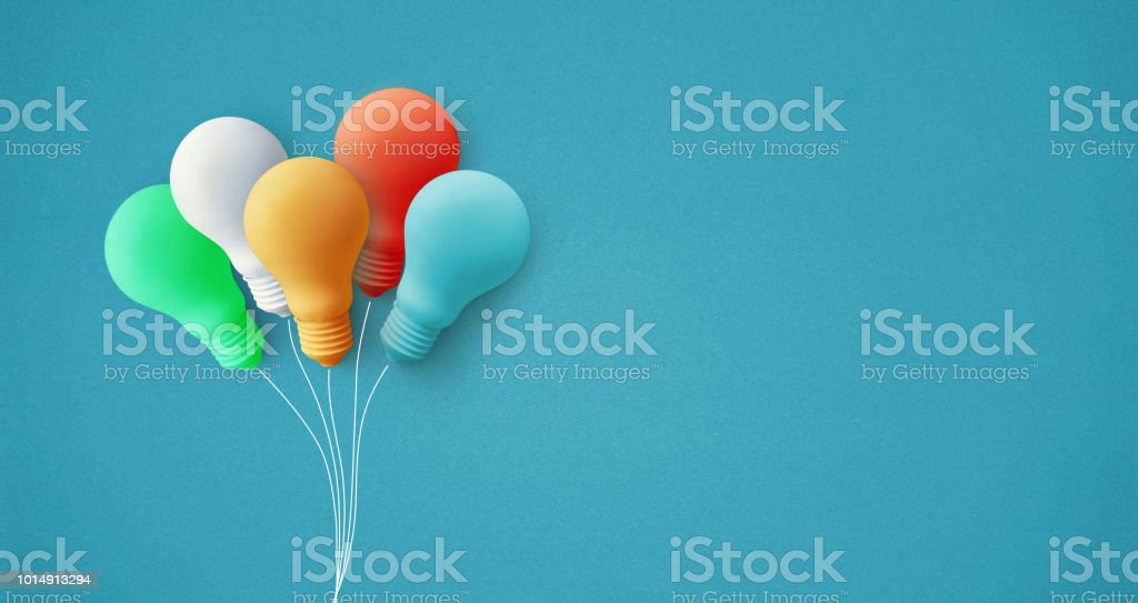 Lâmpada de balão colorido na ideia de criatividade background.business pastel - foto de acervo