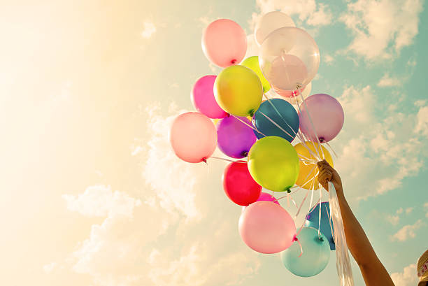 colorful balloon - old fashioned stock pictures, royalty-free photos & images
