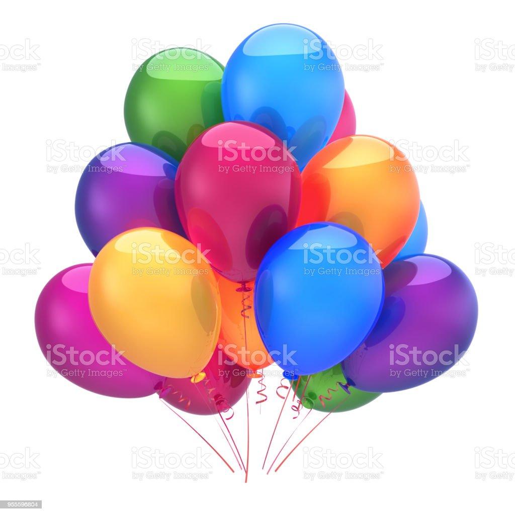Bunte Luftballons Geburtstag Party Dekoration Bunt Stock Fotografie