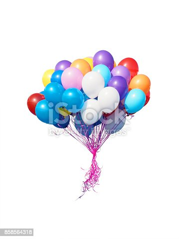 istock Colorful balloons bunch filled with helium isolated on white background. 858564318