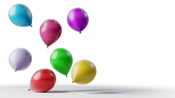Colorful balloons floating on white background. stock photo