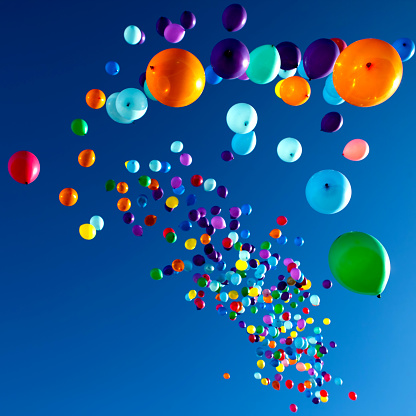 Bunte Luftballons Am Himmel