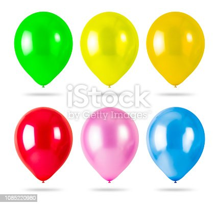 istock Colorful balloons isolated on white background. Party Decorations. ( Clipping path ) 1085220980