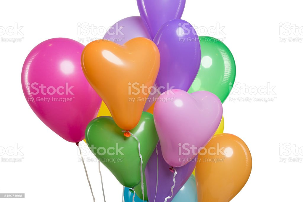 Colorful Balloons on White Background. Celebration concept stock photo