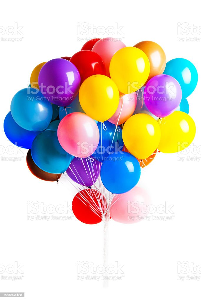 Colorful balloons on white bildbanksfoto