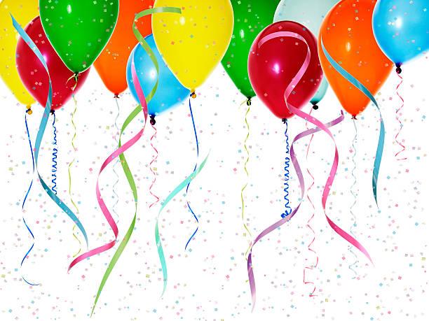 Ballons avec des confettis colorés - Photo
