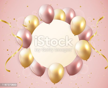 istock Colorful balloons with empty space for text. Pink color and golden balloons. Congratulation banners for birthday, anniversary, wedding. 1187370653
