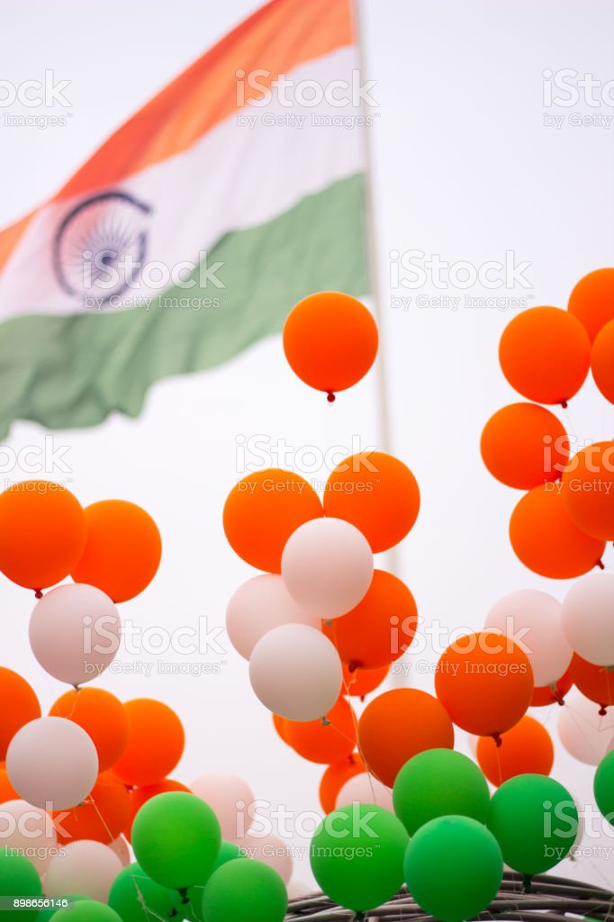 Colorful balloons with India flag stock photo