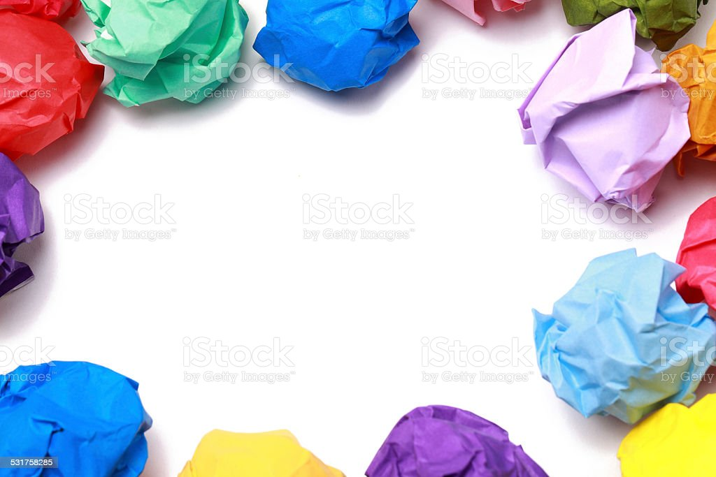 Colorful Balls of Crumpled Paper stock photo