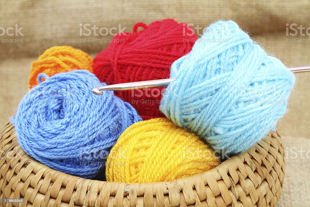 Colorful balls of yarn in a basket royalty-free stock photo