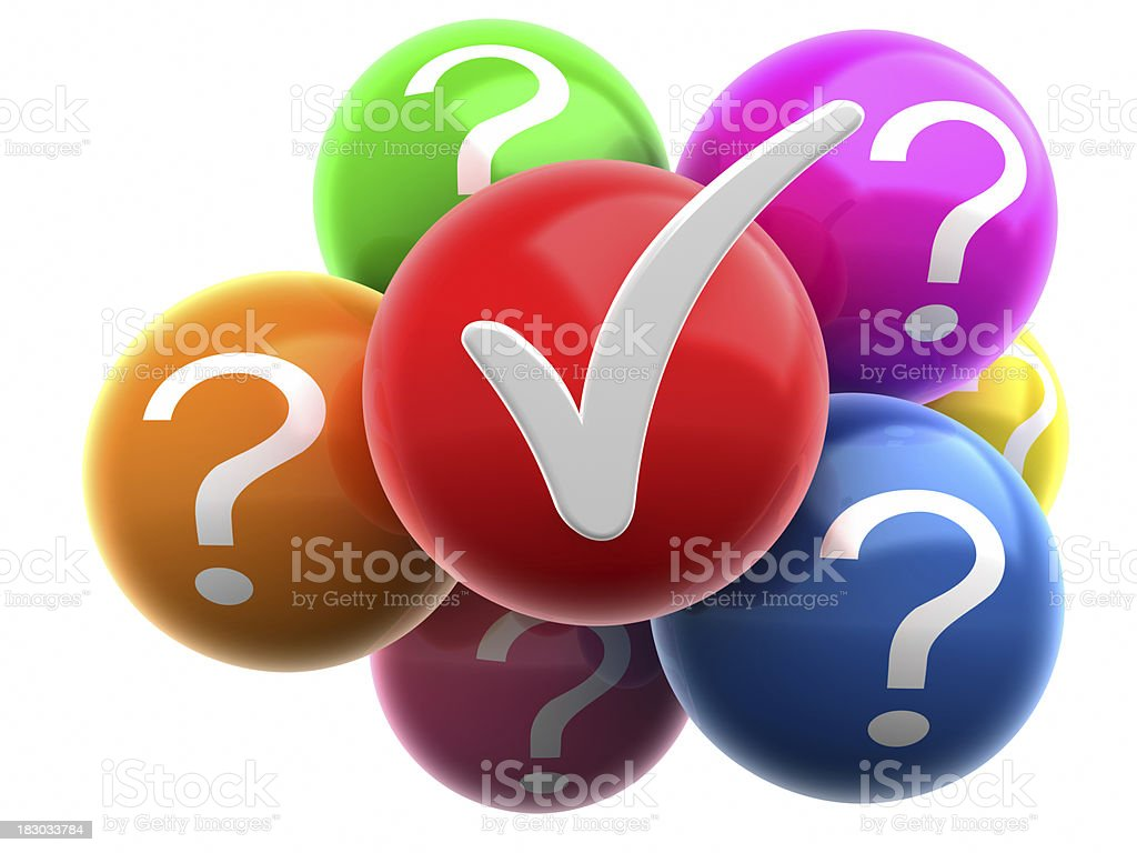 Colorful balls with check mark royalty-free stock photo