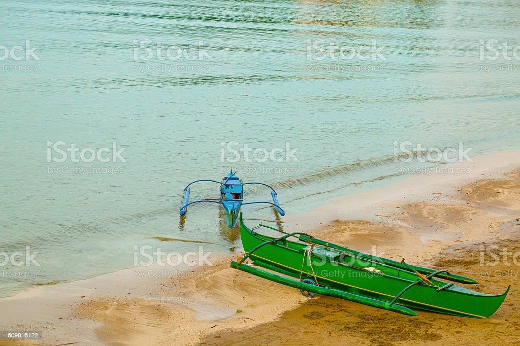 Colorful Banca Boats stock photo