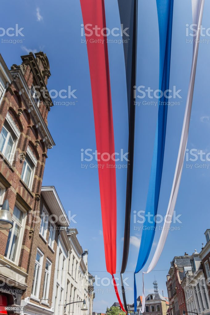 Colorful banners in the city center of Leeuwarden, Netherlands stock photo