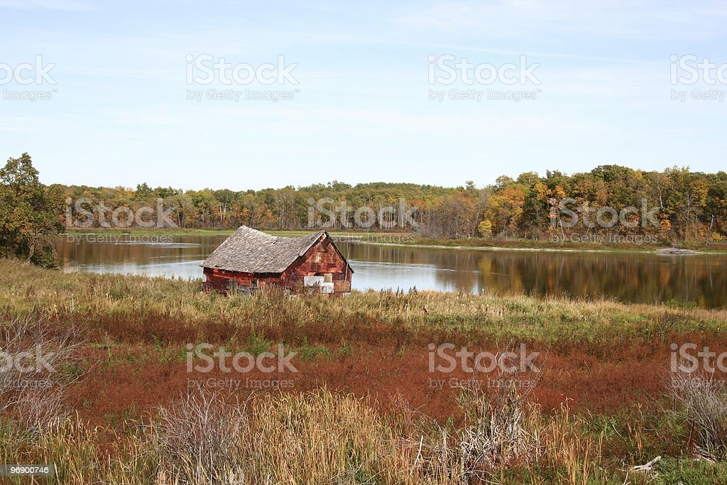 Colorful Barn by Lake royalty-free stock photo
