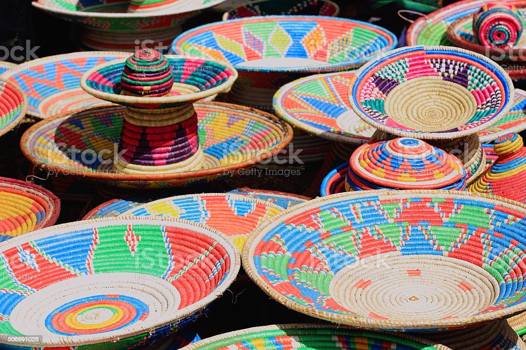Colorful basketry in the sunday market. Senbete-Ethiopia. 0048 stock photo