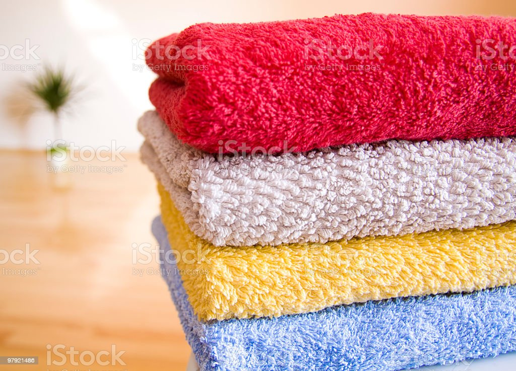 colorful bath towels stacked royalty-free stock photo
