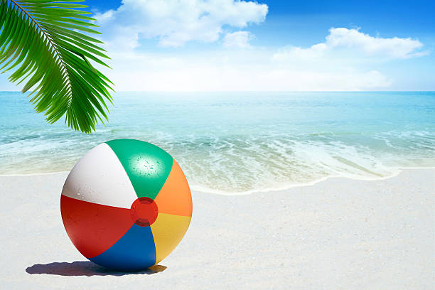 colorful beach ball - beach ball stock photos and pictures