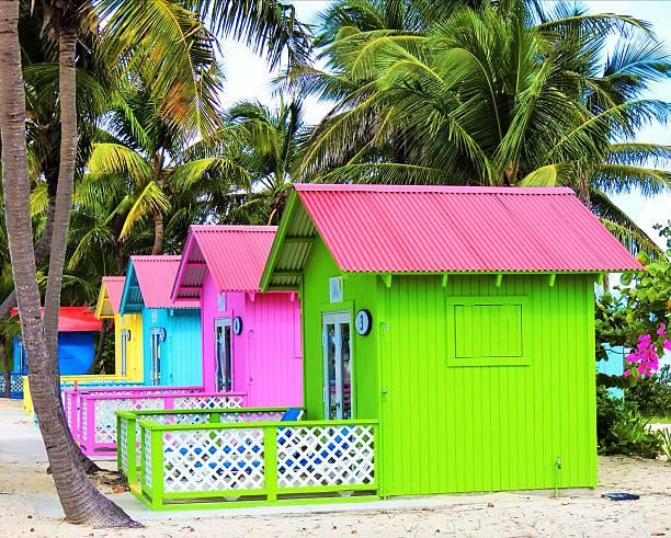 Colorful Beach Cabanas stock photo