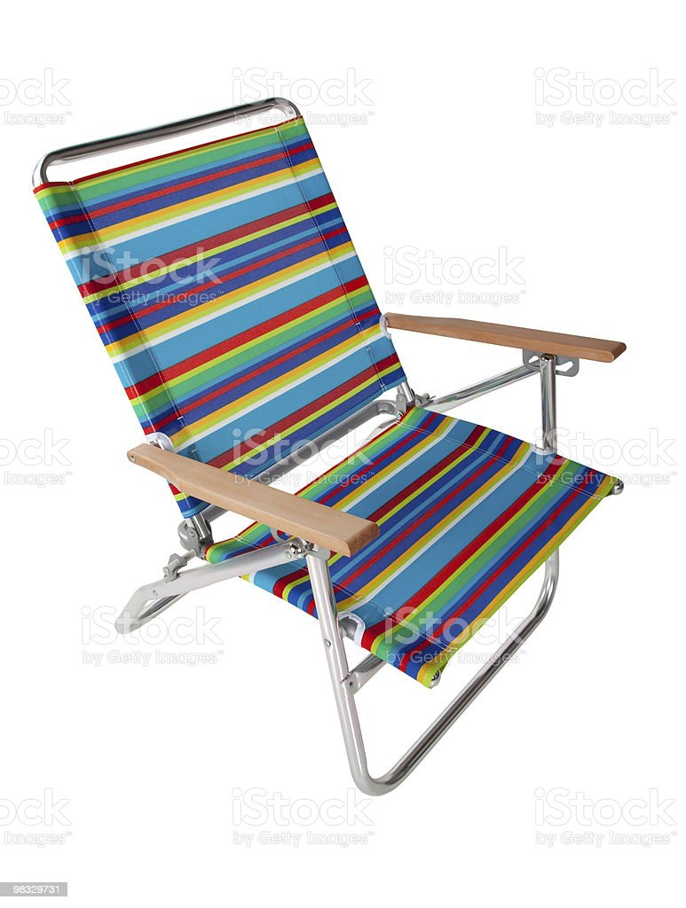 Colorful beach chair in white royalty-free stock photo