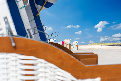 colorful beach chair on the beach with blue sky in summer