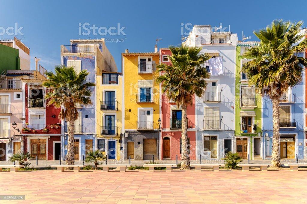 Colorful beach homes in Mediterranean Villajoyosa, Southern Spain stock photo