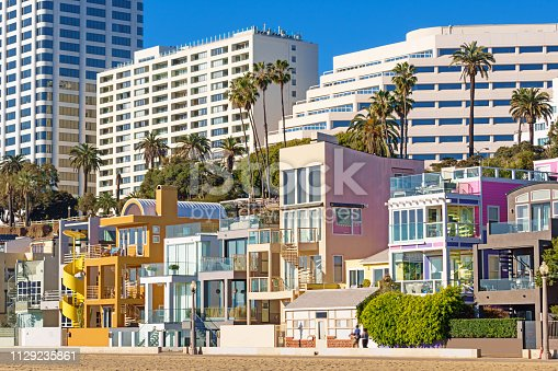 Stock photograph of Colorful Beach Homes and Hotels in Santa Monica California USA on a sunny day