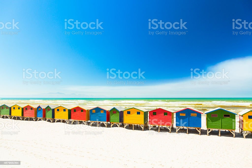 Colorful beach houses in Muizenberg, Cape Town, South Africa. stock photo