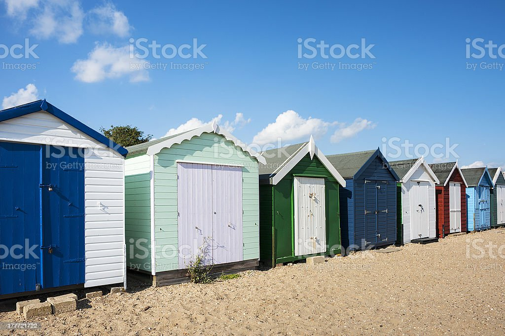 Colorful Beach Huts At West Mersea Essex Uk Stock Photo