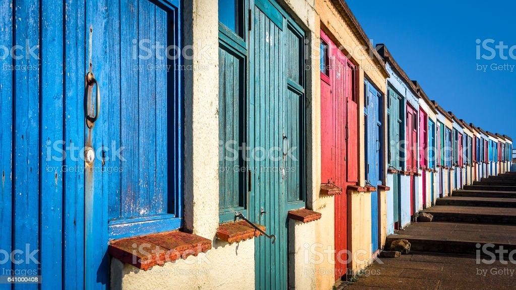 Colorful Beach huts in Bude - Cornwall UK stock photo