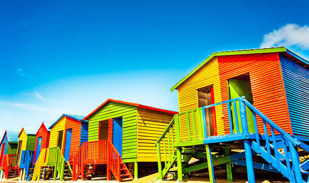Colorful beach huts on the beach of St.James South Africa stock photo